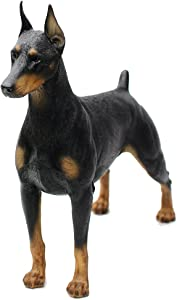 "Comfy Hour Doggyland Collection, Miniature Dog Collectibles 7"" Standing Dobermann Figurine, Realistic Lifelike Animal Statue Home Decoration, Black"