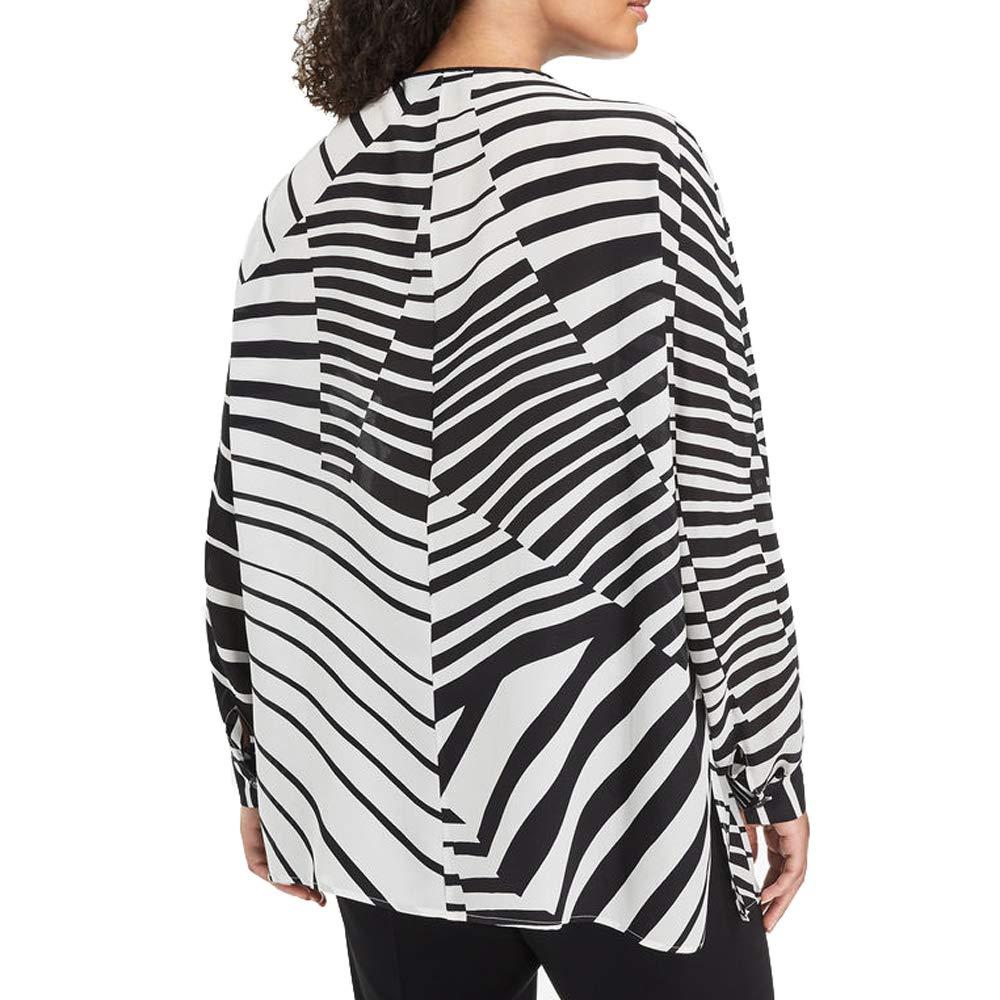 Marina Rinaldi Womens Bandiera Silk Blouse Black//White