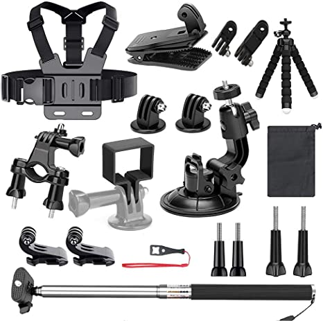 Bike Mount Car Suction Cup Backpack Clip Selfie Stick for Skiing Skating Running Bicycling Flexible Tripod Neewer 20-in-1 Expansion Accessory Kit for DJI Osmo Pocket Handheld Camera: Chest Strap