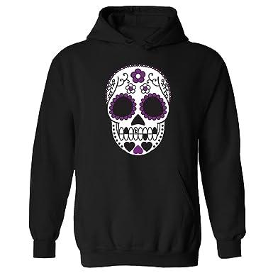 ff92d85b488 Womens Mexican Sugar Skull Tattoo Style Pullover Hoodie Black UK 8 (W-XS)