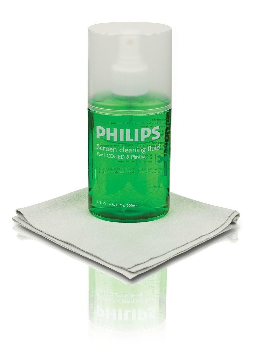 Philips Screen Cleaner, 200mL, for LCD, Plasma and Led TVs, Monitors, Tablets, Smartphones, Polyester Microfiber Cloth, Eco Friendly, Anti-Static, Germ-Free, SVC1116G/27