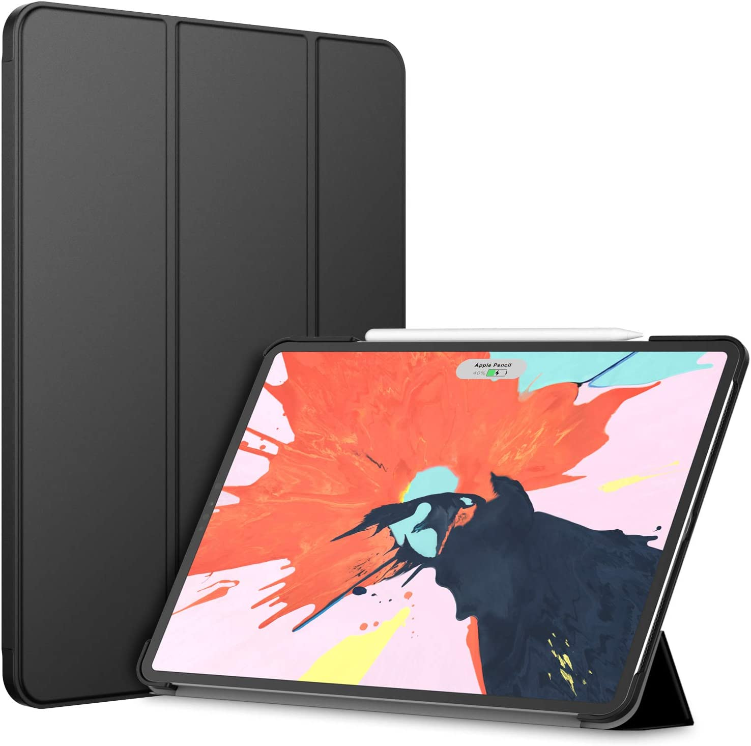 JETech Case for iPad Pro 12.9-Inch 2018 Model (NOT for 2020 Model), Compatible with Pencil, Cover Auto Wake/Sleep, Black