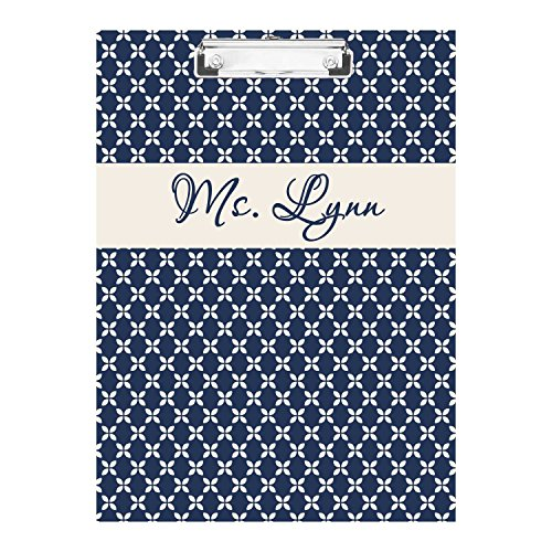 Personalized Clipboard - Blue Daisy Monogrammed Double Sided Hardboard Clipboard