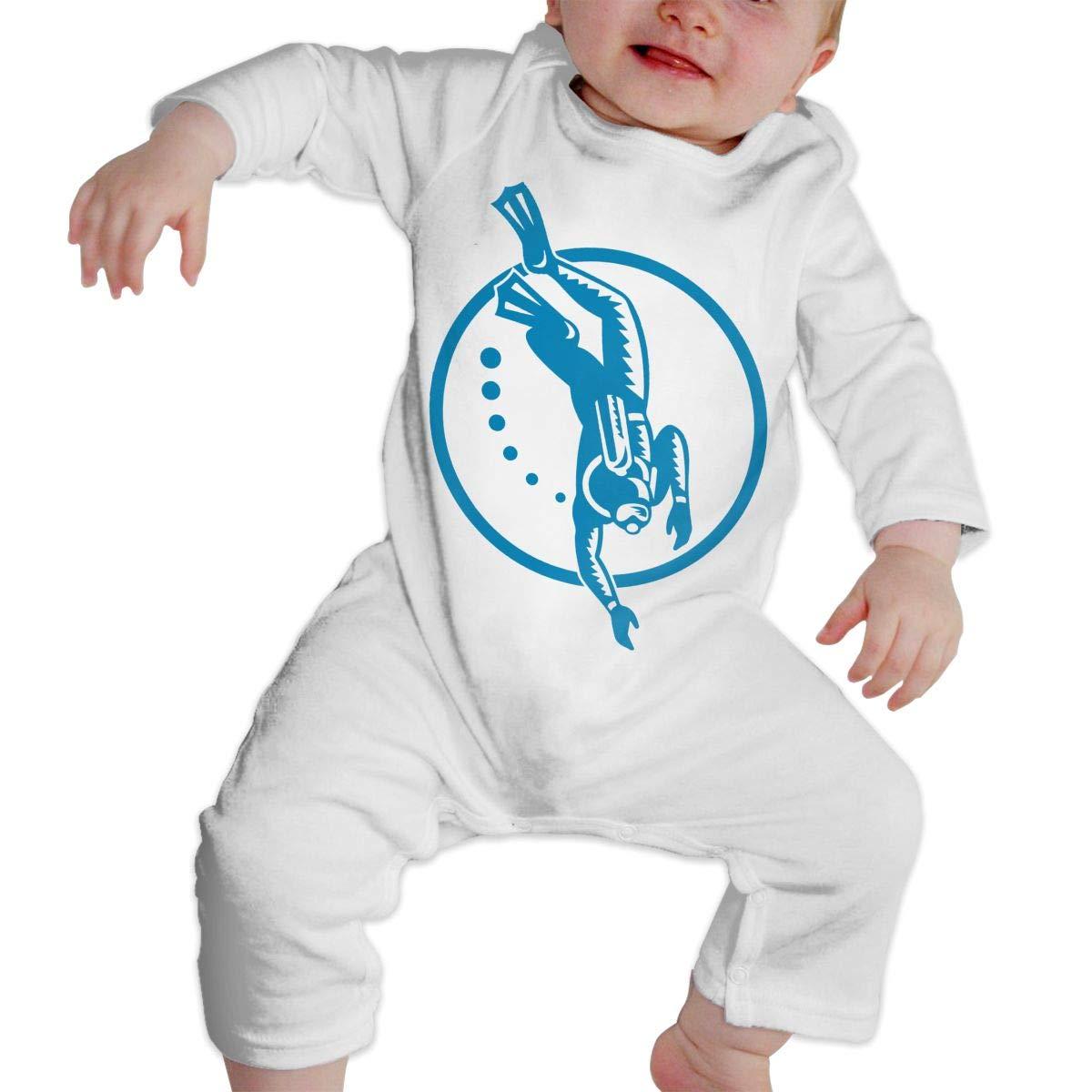 A1BY-5US Baby Infant Toddler Cotton Long Sleeve Scuba Diver Diving Retro Climb Jumpsuit One-Piece Romper Clothes