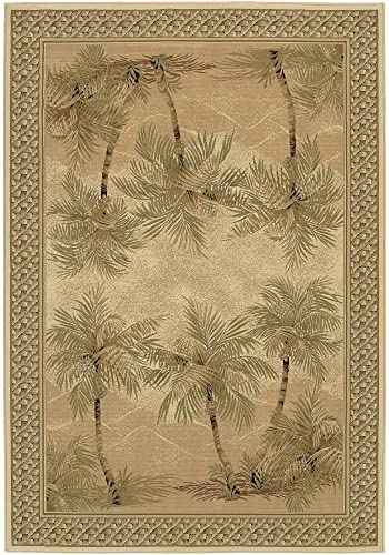 Couristan 2803 6387 Everest Palm Tree Area Rugs, 9-Feet 2-Inch by 12-Feet 5-Inch, Desert Sand