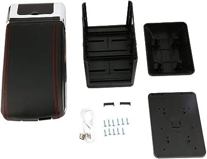 Colore: nero Scatola portaoggetti universale per auto con 7 porte USB Supporto bracciolo centrale