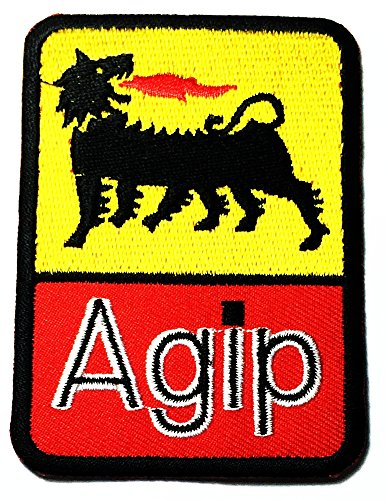 - AGIP World racing oils Auto cars lubricants Racing Team Motorsport Formula logo patch Jacket T-shirt Sew Iron on Patch Badge Embroidery