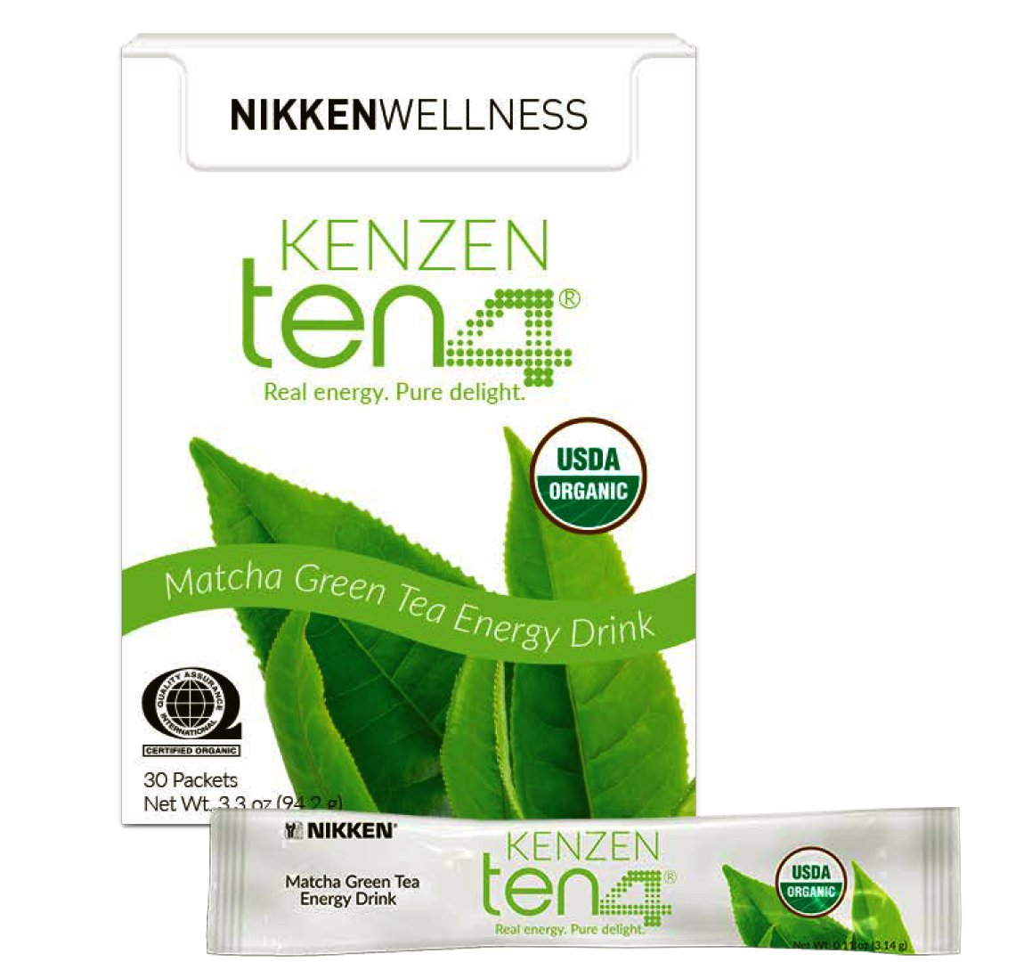 Nikken Wellness Kenzen Ten4 Matcha Green Tea Powder - Pure Green Tea Fat Burner and Natural Energy Powder Drink Mix - Matcha Powder for Weight Loss - Organic Matcha Tea Lose Weight Fast 30 Sachets