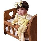 Bebe Reborn Menina Silicone Promoçao Princesa Boneca Cabelo Castanho Poa Amarela BK + Bolsa Maternidade