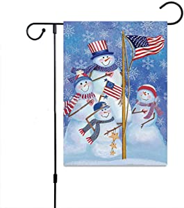 zosenda Christmas Garden Flag, 12 x 18 Inch Double Sided Snowman Patriotic House Yard Flag, Rustic Winter Snowflake Yard Decorations, New Year Holiday Seasonal Outdoor Flag