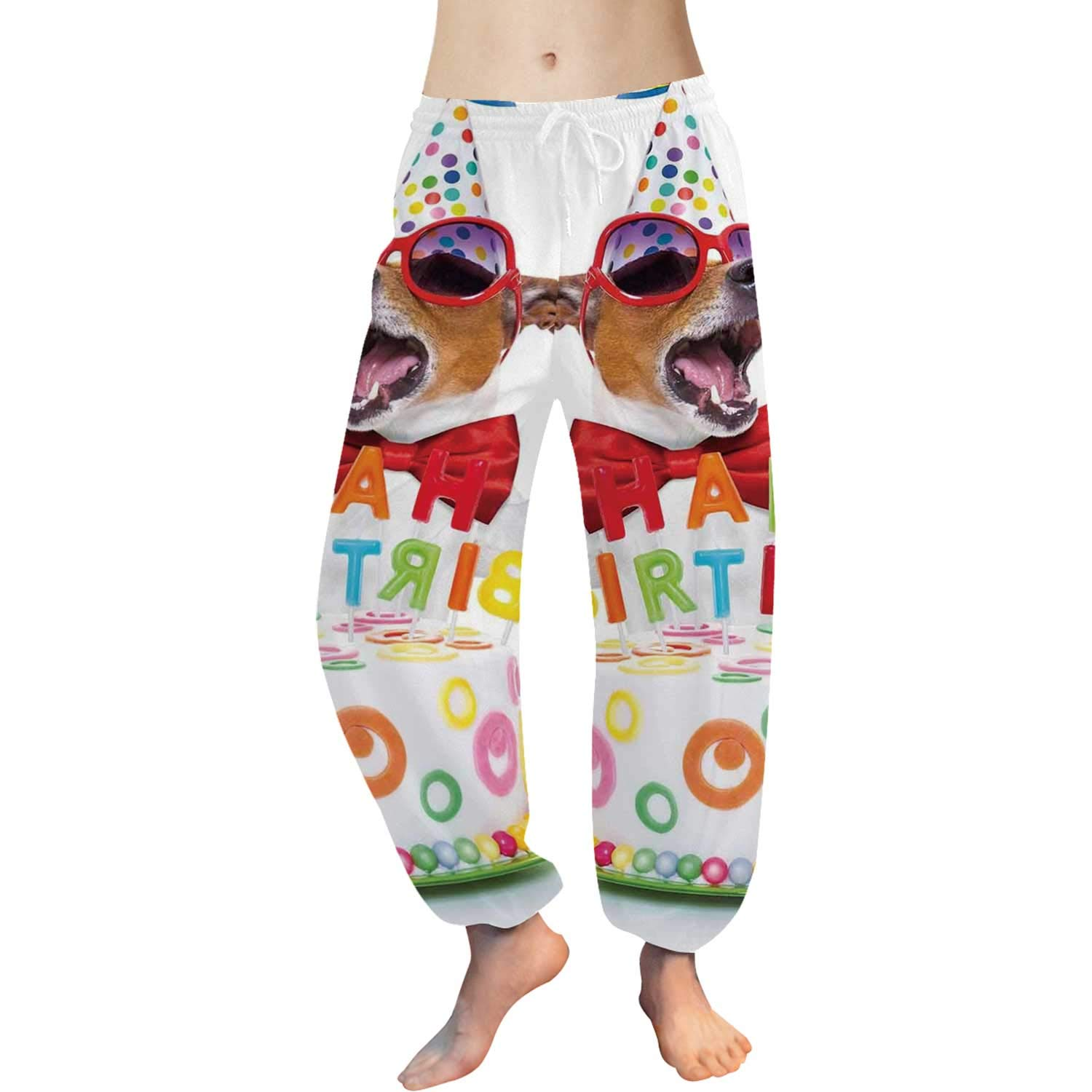 C COABALLA Birthday Decorations for Kids Women's All Over Print Harem Pants,for Yoga,S