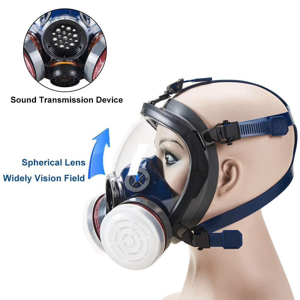 Organic Vapor Full Face Respirator Safety Mask, IVSUN Activated Carbon Respirator Paint Respirator Gas Chemical Dustproof Pesticides Mask (Respirator +1 Pair LDY3 Cartridges) by IVSUN (Image #3)