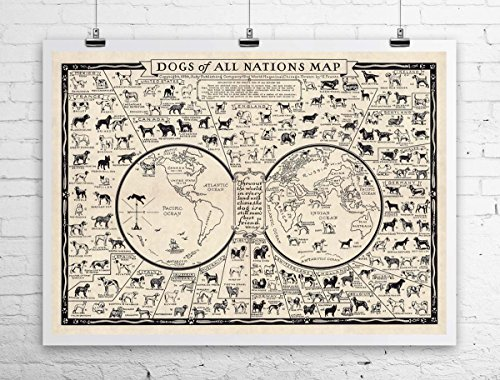 - Dogs of All Nations Map 1936 Antique Map Reproduction Rolled Canvas Giclee Print 32x24 Inches