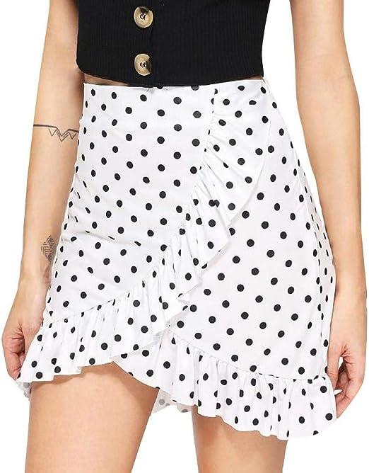 Fuxitoggo - Falda para Mujer, Cintura Alta, con Estampado de ...