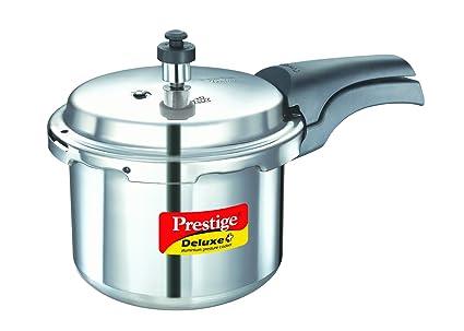 10e70824e97 Prestige Deluxe Plus Induction Base Aluminium Pressure Cooker, 3 litres,  Silver