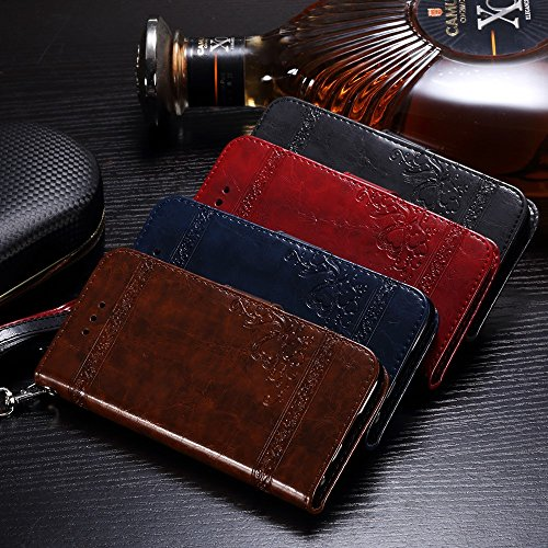 Imprinted Oil Wax Split Leather Wallet Tasche Hüllen Schutzhülle - case with Wrist Strap for iPhone 6s Plus/6 Plus - Dark Blue
