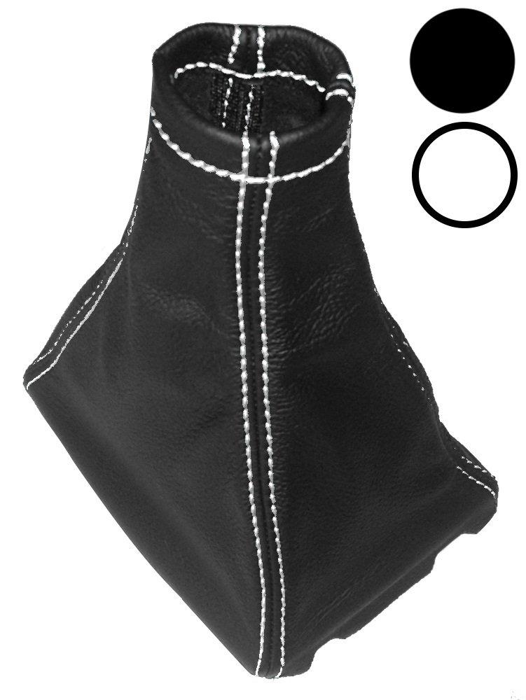 AERZETIX Blanco Funda para palanca de cambios 100/% Piel genuina negro con costuras de colores diferentes
