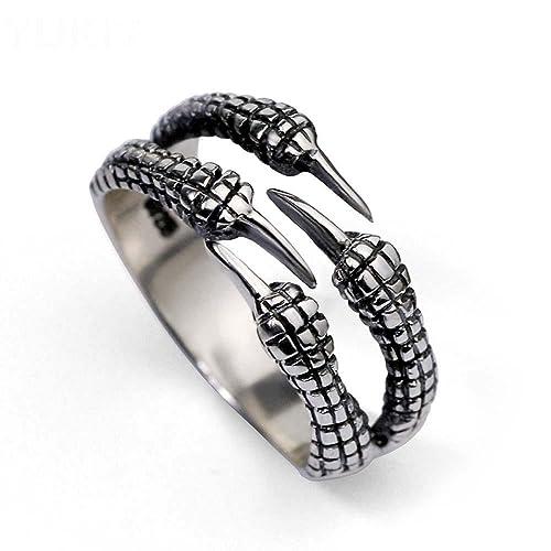 HFJ&YIE&H Plata 925 tailandesa dominadora abierta el anillo Dragon garra discotecas Accesorios cool personalidad anillo original