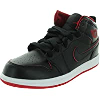 Nike Jordan Kids Jordan 1 Mid Bp Black/Black/White/Gym Red Basketball Shoe 12.5 Kids US