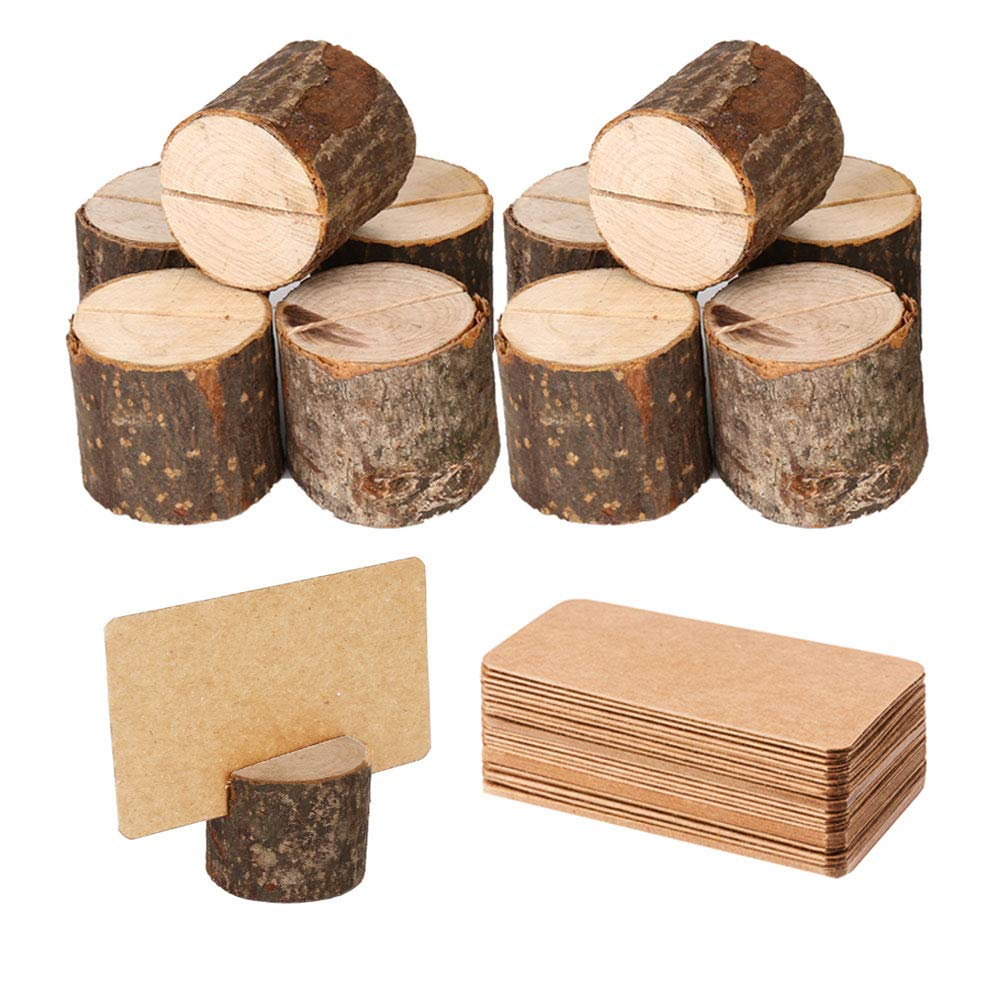 Toncoo Wood Place Card Holders, 10Pcs Premium Rustic Table Number Holders and 20Pcs Kraft Table Place Cards, Wood Photo Holders, Ideal for Wedding Party Table Name and More