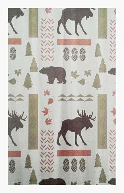 Moose Bear Wilderness Fabric Shower Curtain 70x72 Lodge Cabin Woodland Northwood