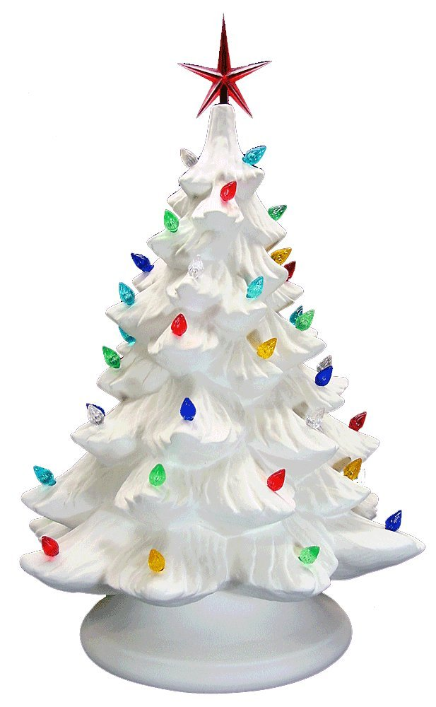 Ceramic Bisque - Ready to Paint - Large Christmas Tree & Base - Light Up! - Electrical Cord, Bulb, Multi-colored Twists, & Star Included. by USA Ceramic Bisque