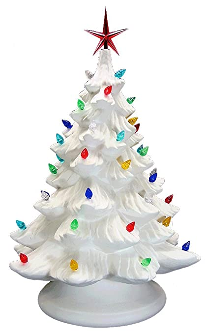 Ceramic Bisque Ready To Paint Large Christmas Tree Base Light Up Electrical Cord Bulb Multi Colored Twists Star Included