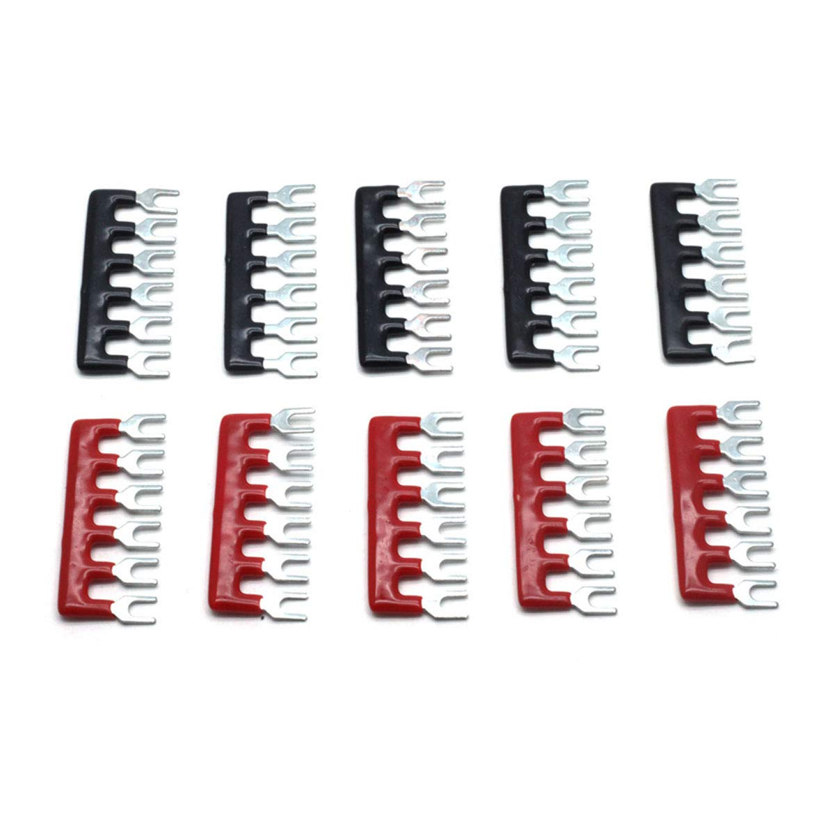 Dasunny 5 Packs Screw Terminal Block 600V 15A Double Row 6 Positions /& 10 Packs 400V 15A 6 Positions Pre Insulated Terminal Barrier Strip Red//Black