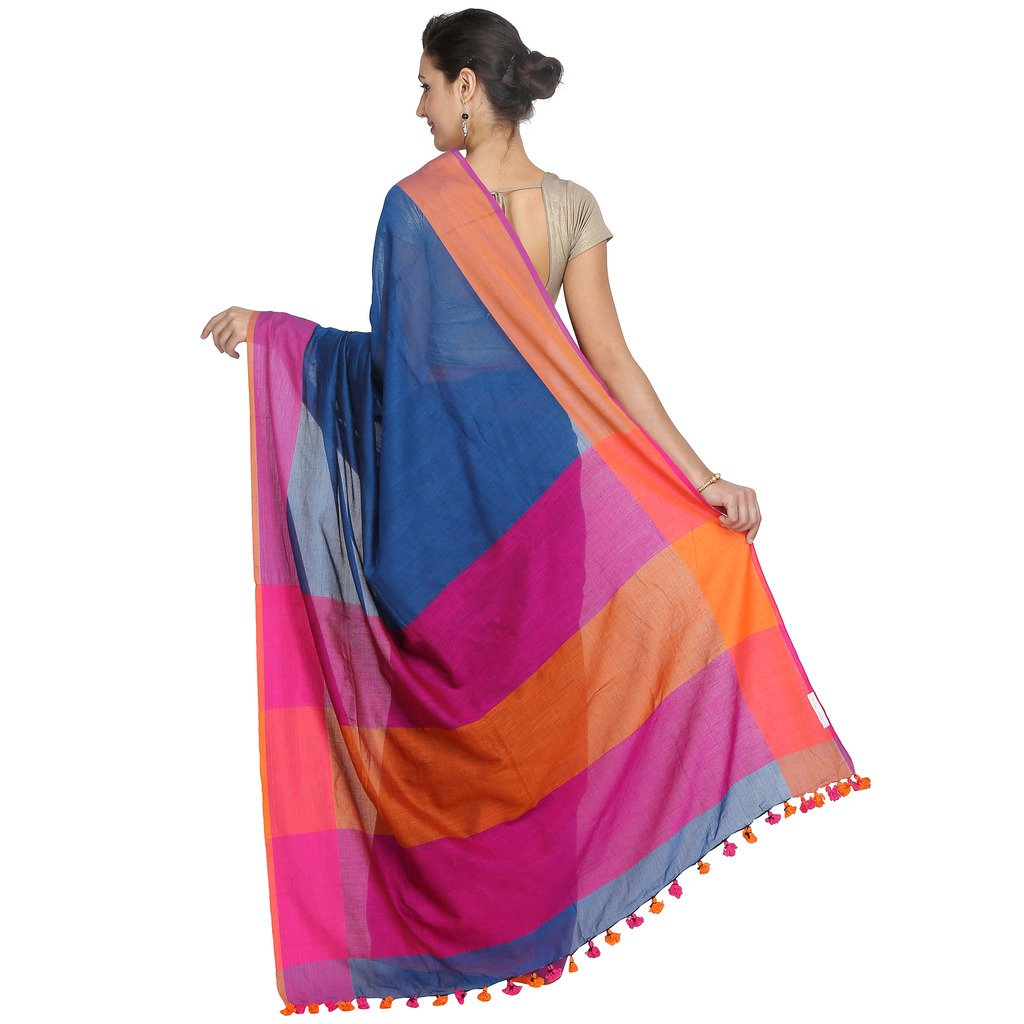 7d6c4b4d53 Tanya Blue with Pink and Orange Double Color Border Pure Khadi Cotton Saree:  Amazon.in: Clothing & Accessories
