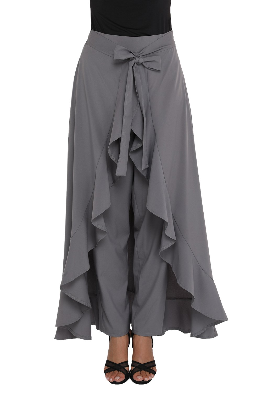 Designer97 Women's Fashion Casual Trousers Harem Wide Leg Chiffon Tie-Waist Ruffle Palazzo Pants Grey Large