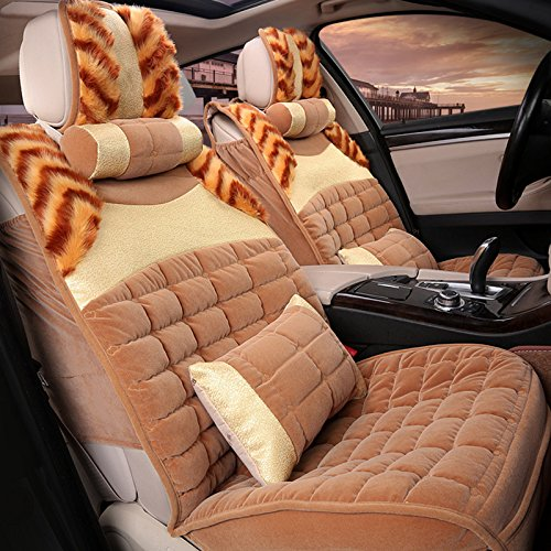 Car Seat Cover Cushions Front Rear Full Set , beige HUIHUANG