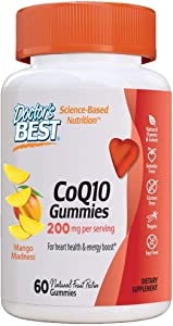 Doctor's Best Coq10 Gummies 200 Mg, Coenzyme Q10 (Ubiquinone), Supports Heart Health, Boost Energy, Potent Antioxidant, 60 Count