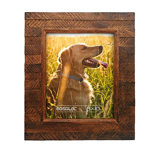 Eosglac Wooden Picture Frame 8x10 inch, Wood Plank Design with Rustic Brown Finish, Wall Mounting or Tabletop Display, Handcrafted Photo -