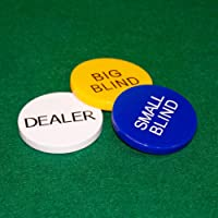 3x Gold Plated Metal Dealer Buttons for Poker Games such as Texas Hold/'em
