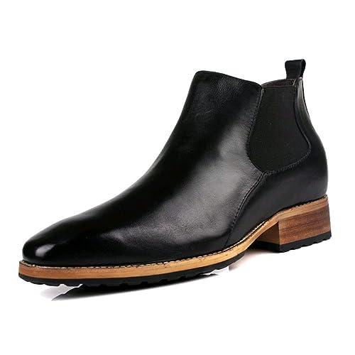 ZQZQ Botines De Hombre Botas De Hombre De Tacón Alto Zapatos De Cuero De Negocios De Punta De Inglaterra: Amazon.es: Zapatos y complementos