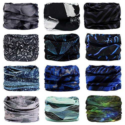 Headband, 12PCS Headwear 12-in-1 Multifunction Stretchable Magic Scarf Head Wrap Sport Sweatband, Workout,Yoga For Sport & Casual (Cool Series)