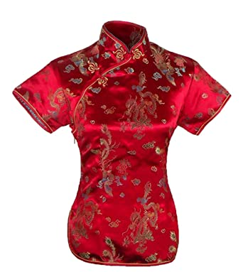 6daae10c8 UK Seller Chinese Red Dragon & Phoenix Short Sleeve Top Shirt Blouse  Despatch Same Working Day