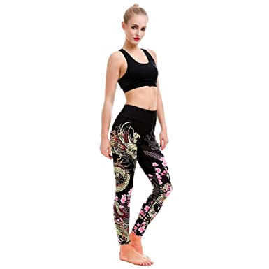 ee1fef6c9cbfd9 Longay Women Dragon Printing Slim Fit Workout Leggings Push up Compression  Pants Sports Exercise Tights Fitness