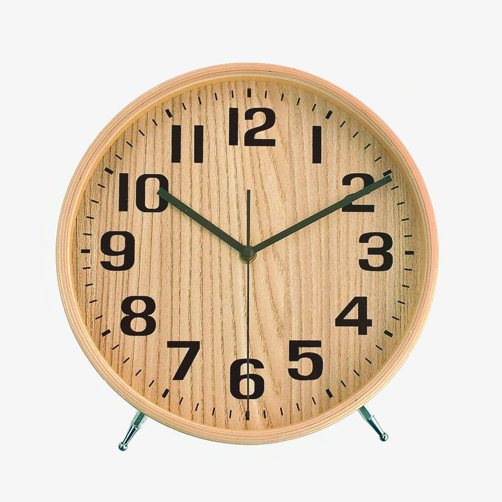 KAMEISHI 8'' Wood Desk and Table Clocks Battery Operated Non Ticking Silent Sweep Second Round Quartz Quiet Kitchen Wall Clock Hanging Easy to Read Natural