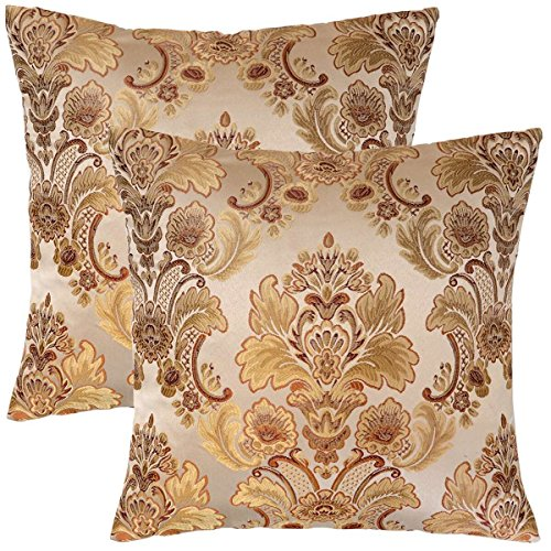 - Grelucgo Set of 2, Cushion Covers Throw Pillows Cases Shells, Decorative Damask Floral, Square 18 x18 Inch