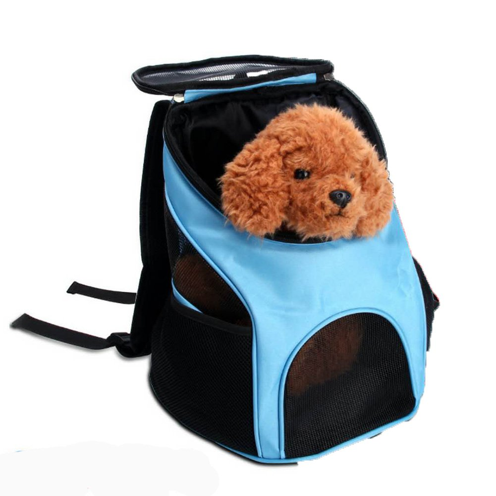 bluee Pet Backpack,Travel Carrier Shoulder Backpack Portable Kennel Breathable Outdoor Puppy Cat Chest Dog Bag (color   bluee)