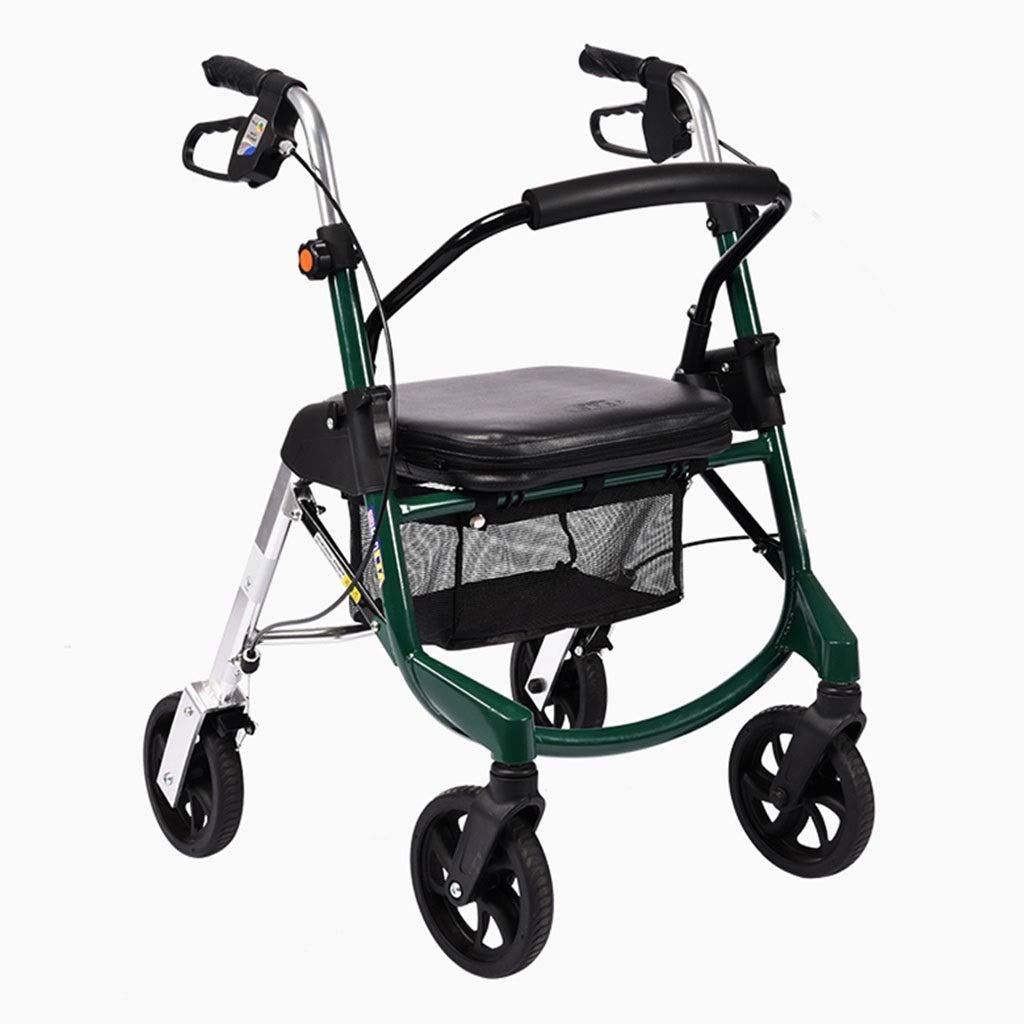 Medical Rolling Walkers Shopping Cart Old Man Trolley Four-Wheeled Walker Can Take A Folding Wheelchair Household Grocery Shopping Cart Seniors Indoor Outdoor use PNYGJZXQ by PNYGJZXQ