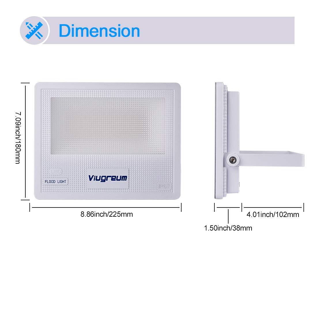 Magazzino 6500K Bianco Freddo Viugreum Faro LED Proiettore da Esterno 4000LM Lampada Sicurezza Super Luminosa per Garage Giardino Senza Alimentatore 50W IP67 Impermeabile