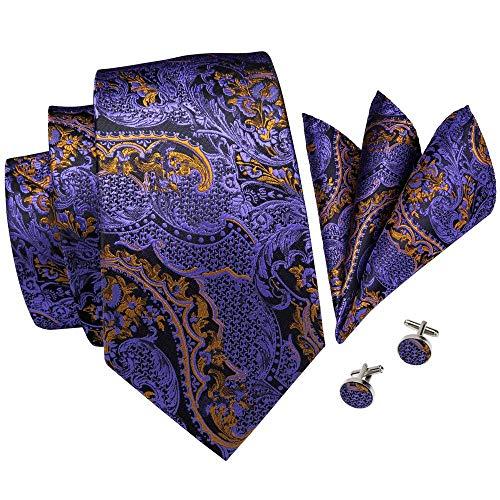 Hi-Tie New Arrival Mens Purple Novelty Tie Necktie Pocket Square and Cufflinks Tie Set Gift Box (Purple ()