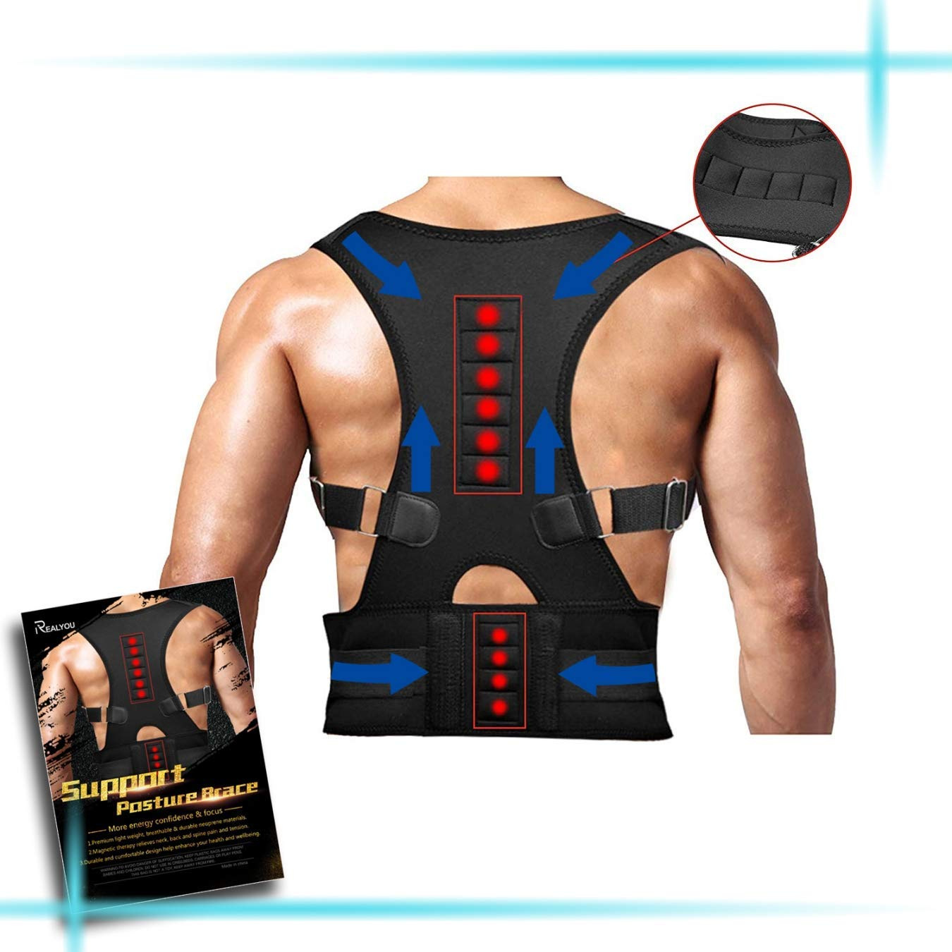 Back Brace Posture Corrector,Magnetic Therapy Improves Posture and Provides Lumbar Support for Lower and Upper Back Pain with Adjustable Soft Elastic Shoulder Straps Men and Women (XXL)