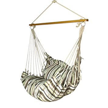 Slack Jack Cushion Fabric Swing (White, Brown and Green)