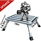 "HELESIN RV-Folding-Step, 19"" x 14.5"" Aluminum Platform Step and Ladder Supports Up to 1,000lbs, Includes Non-Slip Rubber Feet, More Stable for Trailer, Motorhome, SUV, Camping"