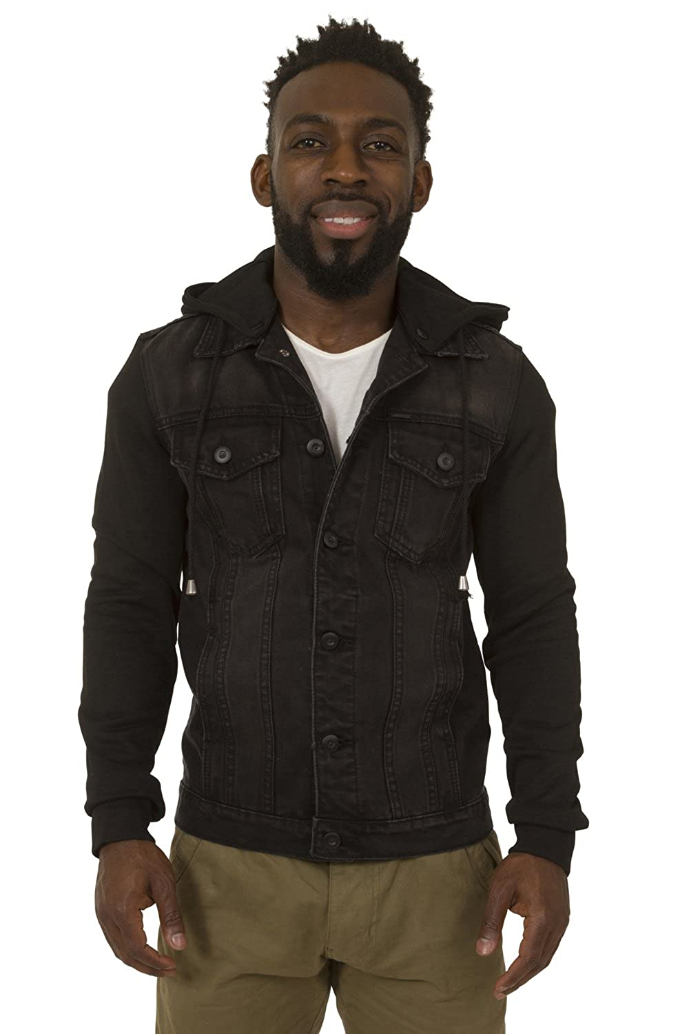 Mens Stonewash Denim Jacket with Hood Slim Fit with Grey Jersey cotton sleeves a