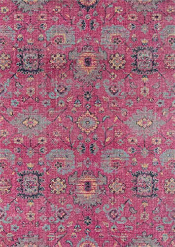 Momeni Rugs JEWELJW-01PNK7A9A Jewel Traditional Floral Flat Weave Area Rug, 7'10
