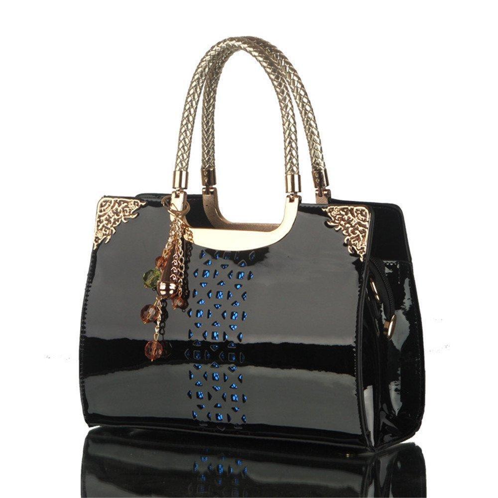 GWQGZ New Lacquer Bag Ladies Fashion Handbag Single Shoulder Bag Black
